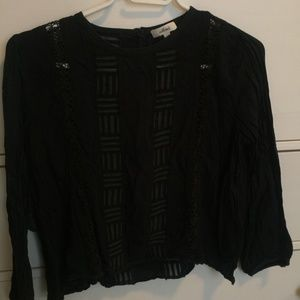 Aritzia wilfred lace panel blouse